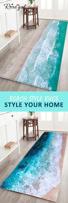 Beach style bathroom rugs area rugs shower mats, feel the beach at your home! Beach Style Rugs, Coastal Style, Coastal Decor, Beach House Decor, Diy Home Decor, Beach Houses, Beach Apartment Decor, Apartment Living, Decor Crafts