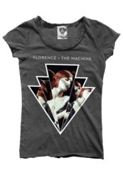 Amplified boat neck charcoal cotton tee featuring a large, distressed 'Shake it Out' print from iconic band 'Florence and the Machine'.  Each t-shirt is unique with a vintage finish.  There is contrast stitching and raw edge detail around the neck, sleeves and bottom hem line.  This is a slim fitting design.    100% cotton.  Machine Washable at 30 degrees.