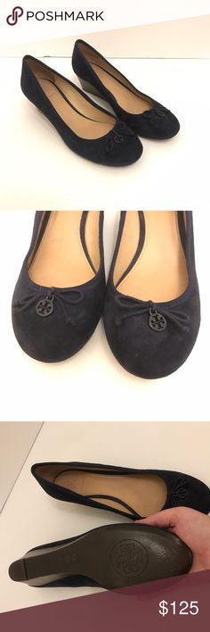 Tory burch suede wedges We ❤️ Tory! These are in mint condition, only worn once to the office. They are navy suede, with metal logo on the toe. No signs of wear or any type of mark to the suede, they are literally NEW! Tory Burch Shoes