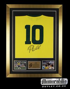 caab0e5d414 Hand signed Pele Brazil framed shirt comes in a great gold frame - here at  memorabilia