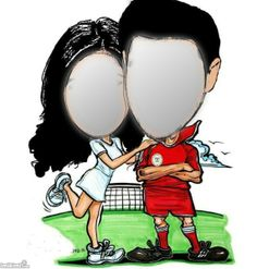 Comic soccer/football couple. Click to add your own faces!