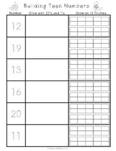 Freebie for Composing Teen Numbers. Trace a teen number, use and to make a teen number and then make it on a double 10 frame. Great for a math center or activity. good as an extension for those bright little ones Numbers Kindergarten, Kindergarten Math Activities, Fun Math, Teaching Math, Kindergarten Teachers, Math Games, Preschool, Maths, Teen Numbers