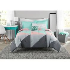 walmart - Google Shopping Grey And Teal Bedding, Teal Bedding Sets, Modern Comforter Sets, Modern Bedding, Grey Comforter, Full Size Bed Sets, Cute Bed Sets, Bed In A Bag, Teen Girl Bedrooms