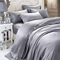 19 momme Silver Grey/Gray Luxuer Silk Duvet Cover - LUXUER Silk & Pearl