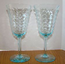 Cambridge Moonlight Blue Depression Water or Wine Glasses 8 oz