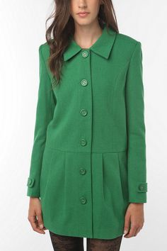 green pleated skirt coat from urban outfitters