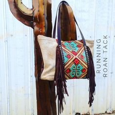 """""""The Bandera"""" Large Tote Bag in Taos Sky and Light Brindle Cowhide with Dark Borwn Fringe by Running Roan Tack"""