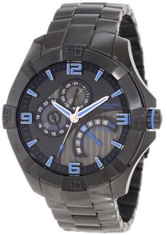 Stuhrling Original Men's 264XB.335951 Leisure Gen-X Pro Quartz Day and Date Multi Function Watch Stuhrling Original. $259.00. 24 hour indicator and date sub-dials with bridge for days of the week. Black pvd round shaped case and beveled bezel with protective krysterna crystal on front. Water-resistant to 100 M (330 feet). Black pvd polished outer links and satin finish center links. Grey textured main dial with black faceplate and metallic blue bordered raised hour markers