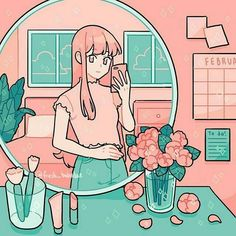 Mirror selfie 🌷💄💘 (Oops, sorry that this is the second time reposting.I kept finding mistakes and it kept bugging me so I just had to fix it hehehe) Cartoon Kunst, Anime Kunst, Anime Art, Arte Do Kawaii, Kawaii Art, Cartoon Art Styles, Cute Art Styles, Japon Illustration, Cute Illustration