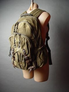 Unisex Steampunk Cyber Punk Rugged Weathered Canvas Knapsack Bag fp Backpack