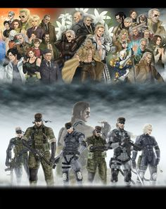 A fanart showing the characters and Snake's of Metal Gear Solid.
