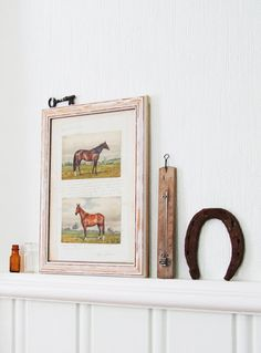 simple equestrian wall art...cute...but turn the horseshoe the other way!