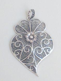 Filigree pendant silver portuguese 8cm charm heart flower findings supplies, filgree pendant, fligree pendant