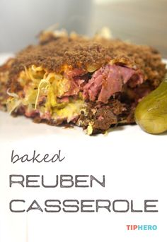 Baked Reuben Casserole Recipe | All the flavor of the classic Reuben sandwich – rye bread, sauerkraut, Swiss cheese, Thousand Island dressing, and corned beef or pastrami - baked up in a casserole! Click for the recipe and how to video.  #dinnertime #reuben #homecooking #baking #casseroles
