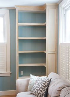 built in bookcase completed