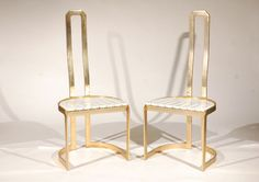 look uncomfortable but pretty - 1970's Italian high back dining chairs in brass