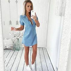 1ee35be9a583 Summer 2018 Fashion Women Sexy Deep V Neck Shirt Dress Casual Buttonsr –  rricdress Mini Shorts