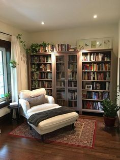 Home Library Rooms, Home Library Design, Home Design, Interior Design, Library Ideas, Design Ideas, Home Library Decor, Library Bedroom, Room Interior