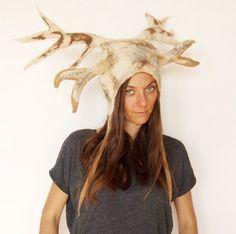 White Deer Antler Hat  Horned Headdress for a by FeltYourself