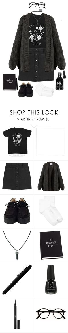 """""""penny for the thoughts of a basket case?"""" by mimikyu ❤ liked on Polyvore featuring Menu, The Seafarer, I Love Mr. Mittens, Hue, Fisher Space Pen, China Glaze and Charlotte Russe"""