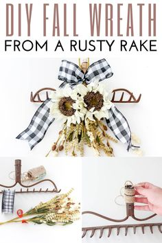 I have an old rusty rake head that I've never known what to do with. Totally going to make it into this cute rake head wreath for fall! #domesticallycreative #fallwreath #rake #falldecor #wreath