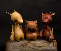 Charming puppets carved from wood in the shapes of various native Australian animals are just some of Wez Champion's individually crafted Loutky Puppets.