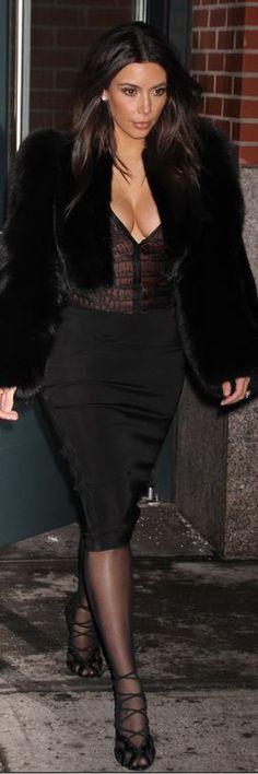 Kim Kardashian: Shirt – Stella McCartney  Skirt – Lanvin  Tights – Kardashian Kollection  Shoes and jacket – Tom Ford