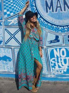 Pretty Bohemia Floral V Neck Half Sleeve Front Split Maxi Dress – chicboho Maxi Shirt Dress, Maxi Dress With Sleeves, Half Sleeves, Plus Size Bohemian, Bohemia Dress, Bohemia Style, Plus Dresses, Long Dresses, Maxi Dresses