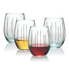 Susquehanna Glass Ribbons Stemless Wine Glasses Set of 4 *** Find out more about the great product at the image link.  This link participates in Amazon Service LLC Associates Program, a program designed to let participant earn advertising fees by advertising and linking to Amazon.com.