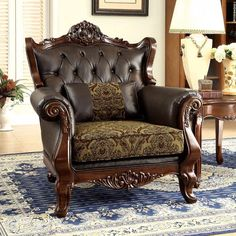 Furniture Of America Kamilah Sofa Chair Diy Chair, Sofa Chair, Cheap Outdoor Chairs, Brown Armchair, Recliner With Ottoman, Provincial Furniture, Traditional Chairs, Comfy Sofa, Table And Chair Sets