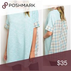 IT'S HERE! mint/blue oversized tunic with plaid! Super cute tunic with back and sleeve plaid detail in 100 Rayon- oversized fit - length is 31 inches Tops Tunics