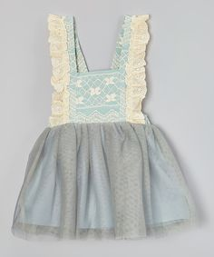 This Gray Lace & Tulle Bib Dress - Toddler & Girls by Just Couture is perfect! #zulilyfinds