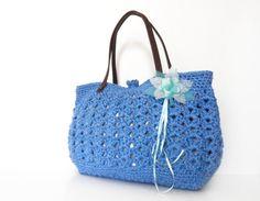 blue summer bag Handbag Celebrity Style With Genuine by Sudrishta, $60.00