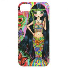 1960s, 1970s Psychedelic Hippie Mermaid Girl iPhone 5 Covers