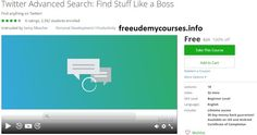 [100% Free #Udemy Course] #Twitter Advanced Search: Find Stuff Like a Boss   Course Description  Welcome toTwitter Advanced Search: Become an expert at finding stuff!  This course was designed for anyone who wants to become more capable at finding stuff on Twitter.  Sometimes Twitter is complete mess of irrelevant information mixed up with interesting content. What you want is an ability to filter the irrelevant content out and just keep the best. That's basically what this course will…
