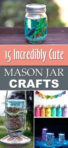 diytotry: 15 Incredibly Cute Mason Jar Crafts Upcycle all your leftover jars and try these crafts http://ift.tt/1YaoEfO