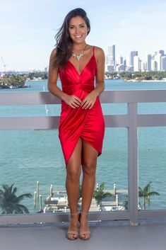 Get this beautiful Red Satin Short Dress from Saved by the Dress Online Boutique! This new short dress is so stylish! Hoco Dresses, Satin Dresses, Sexy Dresses, Casual Dresses, Red Satin Dress Short, Satin Cami, Dress Red, Business Outfits Women, Boutique Dress Shops