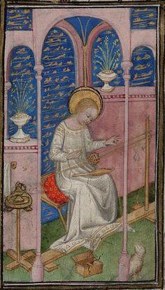 Book of hours (use of Paris) manuscript, [ca. Card Weaving, Tablet Weaving, Weaving Looms, Medieval Life, Medieval Art, Medieval Manuscript, Illuminated Manuscript, Renaissance, Medieval Crafts