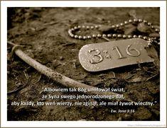 Ziarenka - wersety biblijne: Ew. Jana 3:16 Dog Tags, Dog Tag Necklace, Bible