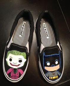 Kids Custom Batman and Joker Shoes by ArtScribbles on Etsy, $24.00