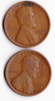 $15  Vintage Pennies  1913 Small S and 1924 S  by TheSecretGardenEtsy