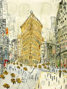 warbyparker:    Clare Caulfield, Flatiron Building, New York (hand-painted screenprint) (viablua)