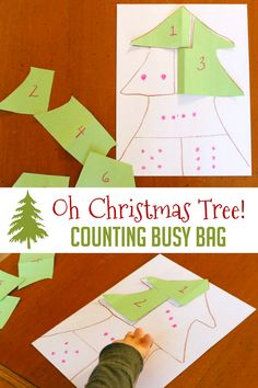 Create a puzzle out of a Christmas tree as a Christmas busy bag! It even has a bonus of learning with many alterations.