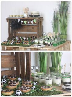 fussballparty essen, buffet, backen, dessert im glas, grün www.pickposh.de