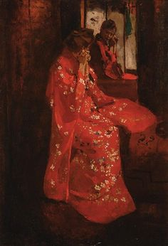 George Hendrik Breitner - Girl in red kimono in front of a mirror; Medium: Oil on canvas