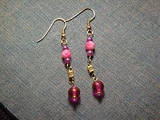 Pink  Purple Dangle Earrings