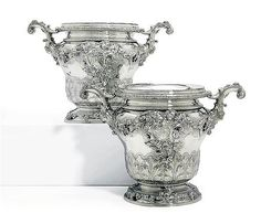 A PAIR OF GEORGE III SILVER WINE-COOLERS AND COLLARS