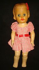 VINTAGE STUFFED VINYL BABY DOLL RELIABLE MOLDED HAIR BOW CURLS 1950'S