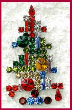 Vintage Style Weiss Inspired Rhinestone Christmas Candle Tree Silver Pin Brooch