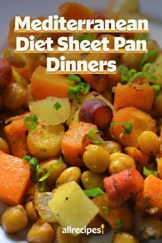 "Mediterranean Diet Sheet Pan Dinners | ""Make your Mediterranean diet meal planning easy with these delectable sheet pan dinners, which are all-in-one meals conveniently and quickly baked on a sheet pan."" #easy #easyrecipes #quickandeasy #easyrecipesideas #dinner #supper #sheetpandinner #easydinnerideas #sheetpansupper #easysupperideas Mediterranean Diet Meal Plan, Mediterranean Recipes, Quick Supper Ideas, Roasted Cod, Shrimp And Vegetables, Sheet Pan Suppers, Recipe Creator, Healthy Protein, Diet Meal Plans"